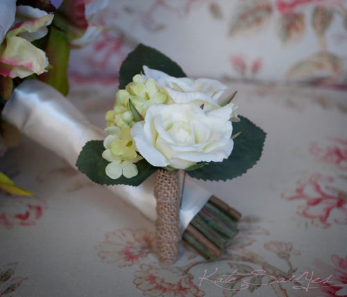 Wedding Boutonniere Rustic Rose Hydrangea Wedding Boutonniere with Green Hydrangeas