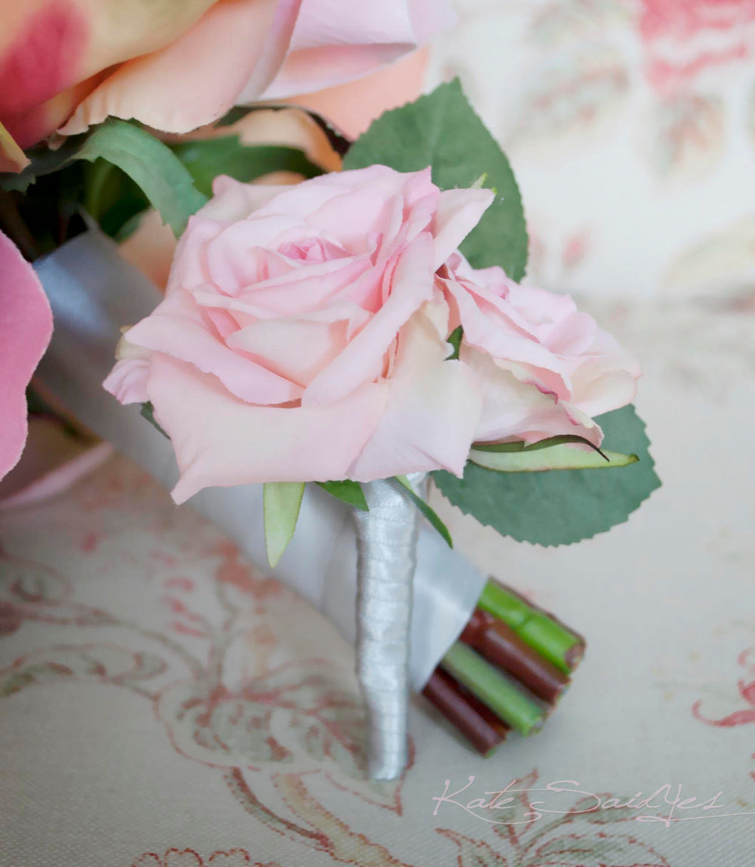 Wedding Boutonniere Pink Rose Wedding Boutonniere