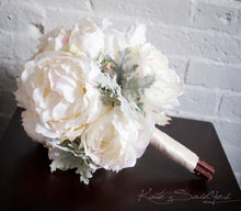 Ivory Peony and Dusty Miller Wedding Bouquet