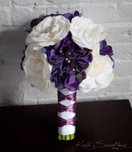 Wedding Bouquet - Purple Hydrangea and White Rose Silk Wedding Bouquet