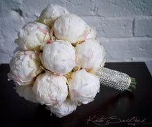 Ivory Peony Bud Wedding Bouquet with Rhinestone Handle