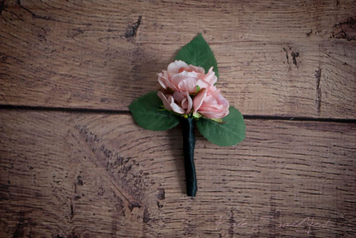 Blush Pink Rose Boutonniere - Silk Wedding Boutonniere