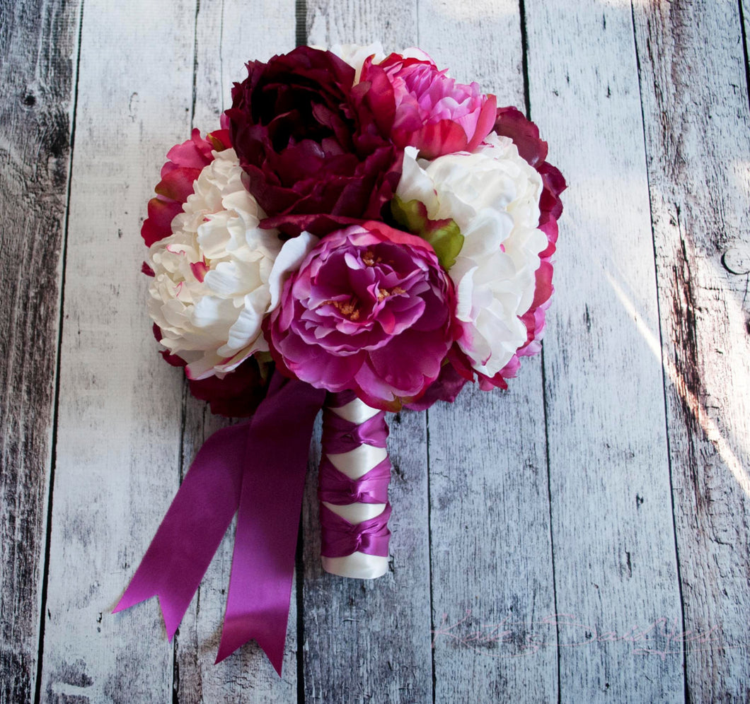 Fuchsia Ivory and Plum Peony Bouquet - Silk Wedding Bouquet