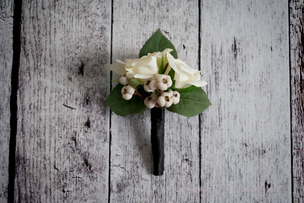 Ivory Rose and Berry Wedding Boutonniere - Silk Wedding Boutonniere