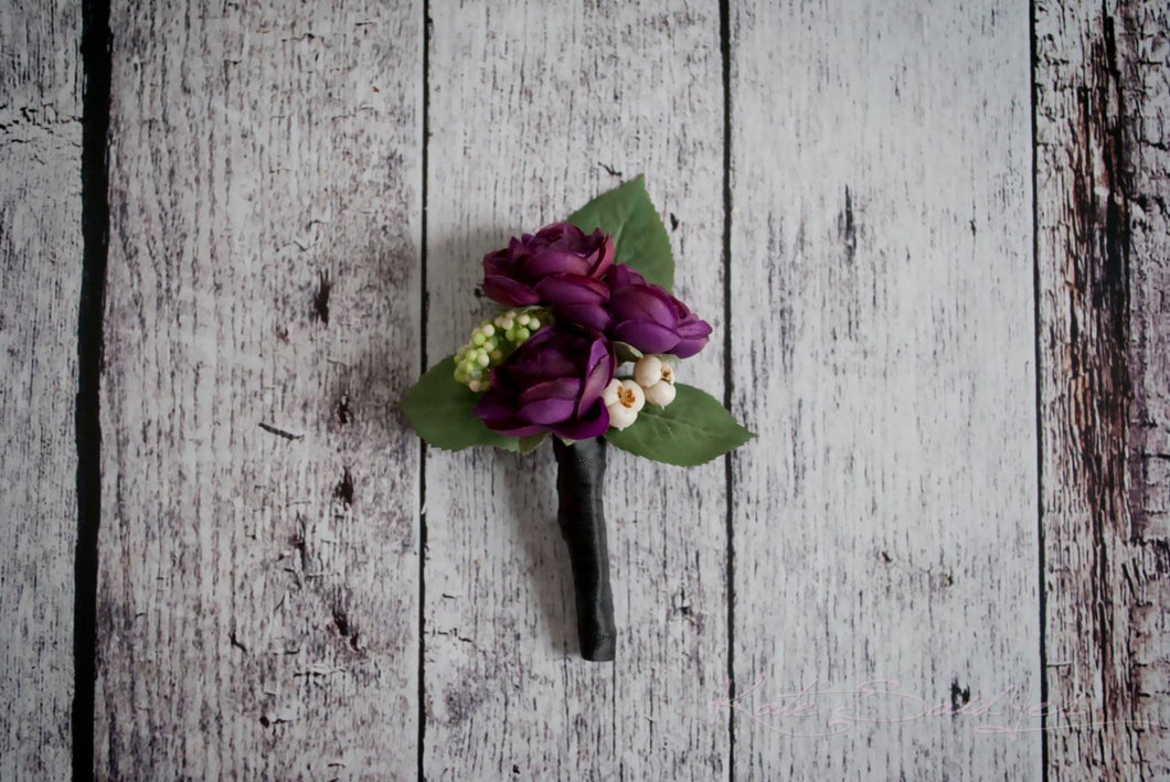 Plum Purple Ranunculus Wedding Boutonniere - Silk Wedding Boutonniere
