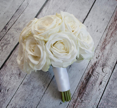 White Rose Wedding Bouquet - Silk Wedding Bouquet