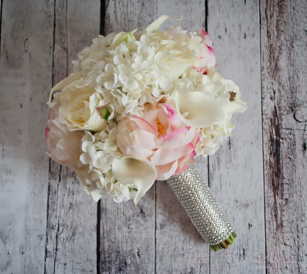 Peony Bouquet - Peony Hydrangea Rose and Calla Lily Bridal Bouquet with Rhinestone Handle
