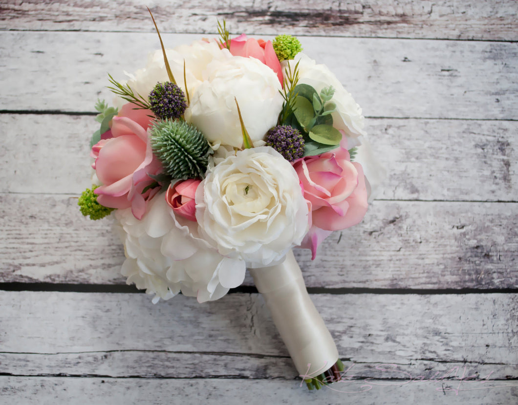 Peony Bouquet - Peony Ranunculus Rose Garden Bridesmaid Bouquet