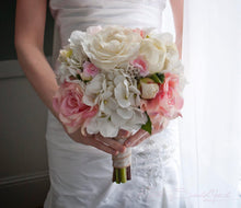 Wedding Bouquet - Ivory and Blush Pink Rose and Hydrangea Wedding Bouquet