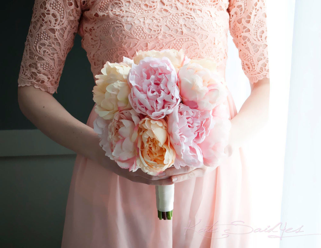 Blush Pink and Peach Peony Bouquet Wedding Bouquet