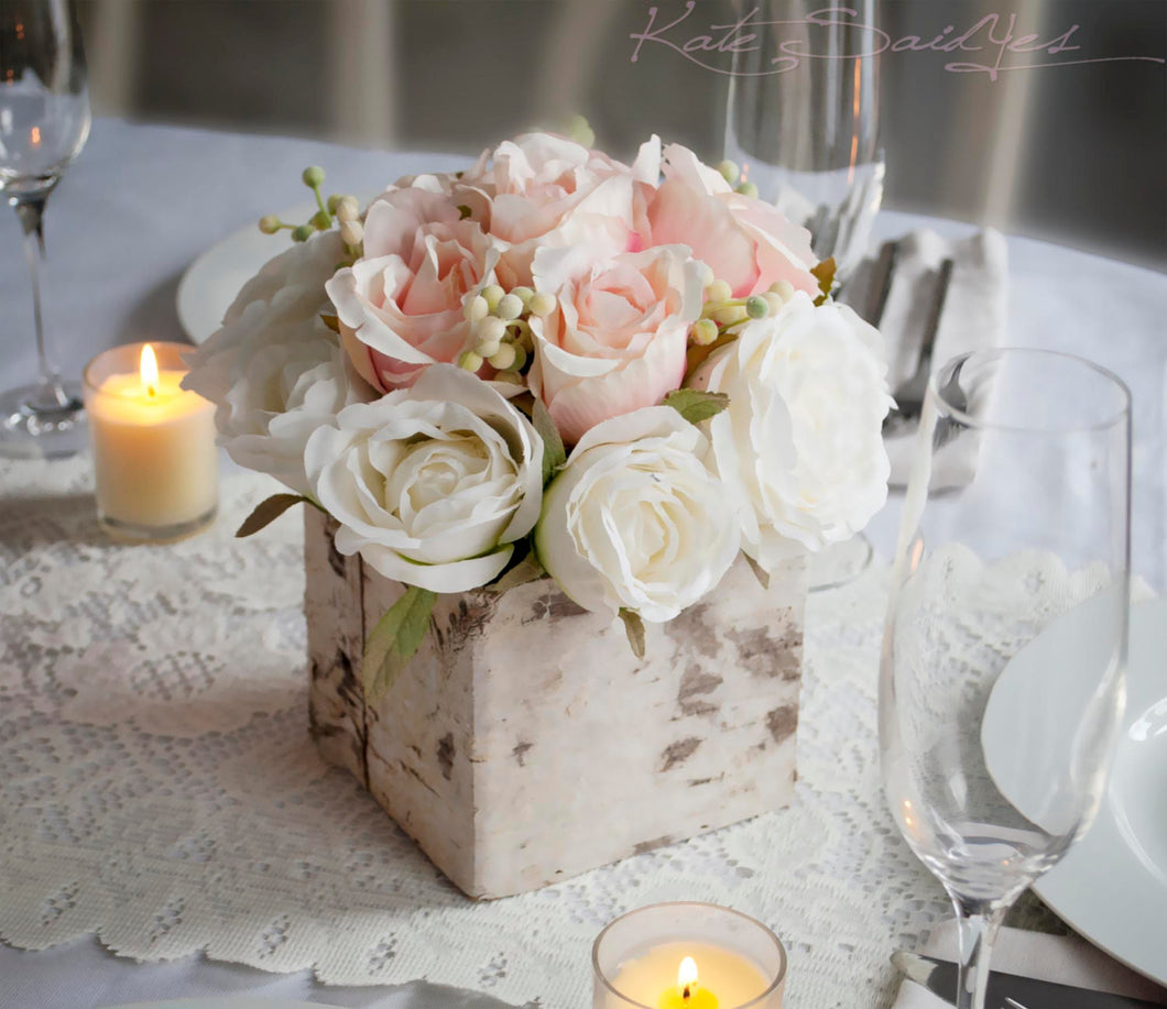 Wedding centerpiece rustic blush and ivory rose