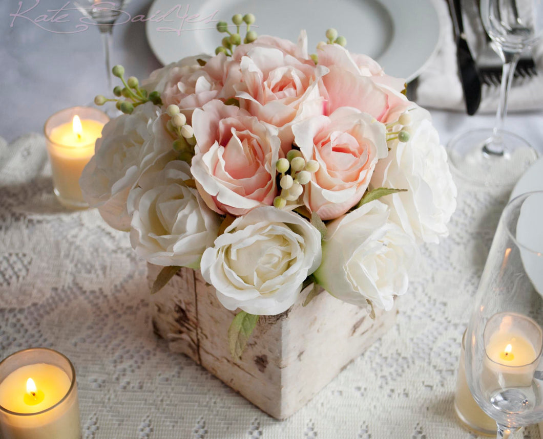 Wedding centerpiece rustic blush and ivory rose wedding wedding centerpiece rustic blush and ivory rose wedding centerpiece junglespirit Gallery