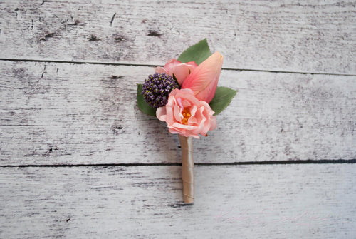 Pink Peony and Tulip Wedding Boutonniere