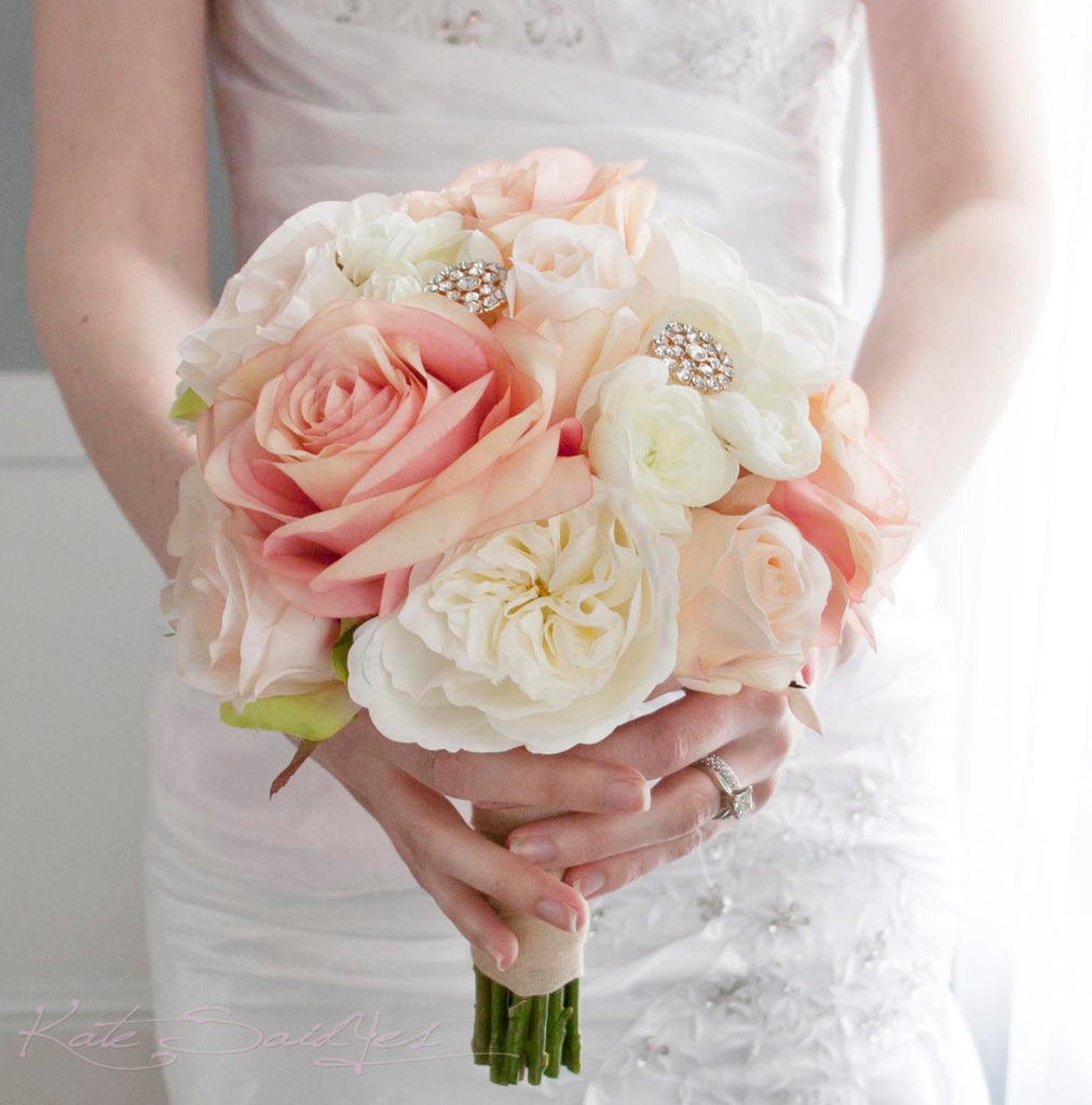 Roses Wedding Flowers: Blush And Ivory Garden Rose Wedding Bouquet