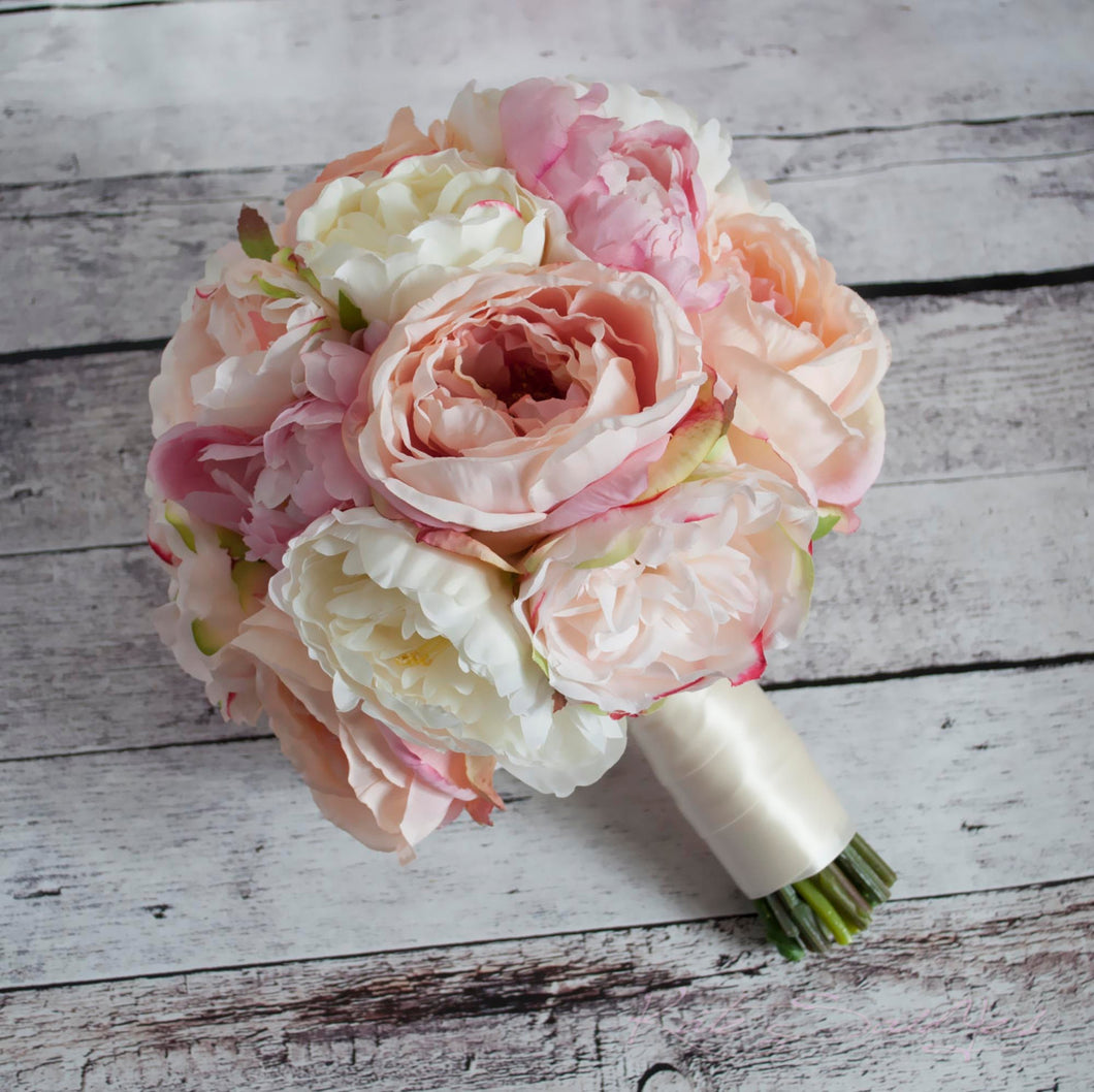 Ivory and Blush Pink Peony and Garden Rose Wedding Bouquet