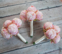 Blush Pink Peony Wedding Bouquets - Set of 3 Bridesmaids Bouquets