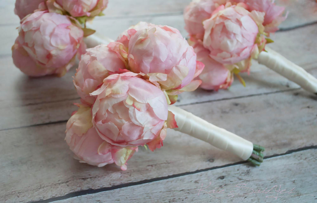 Blush Pink Peony Wedding Bouquets Set Of 3 Bridesmaids Bouquets Kate Said Yes Weddings