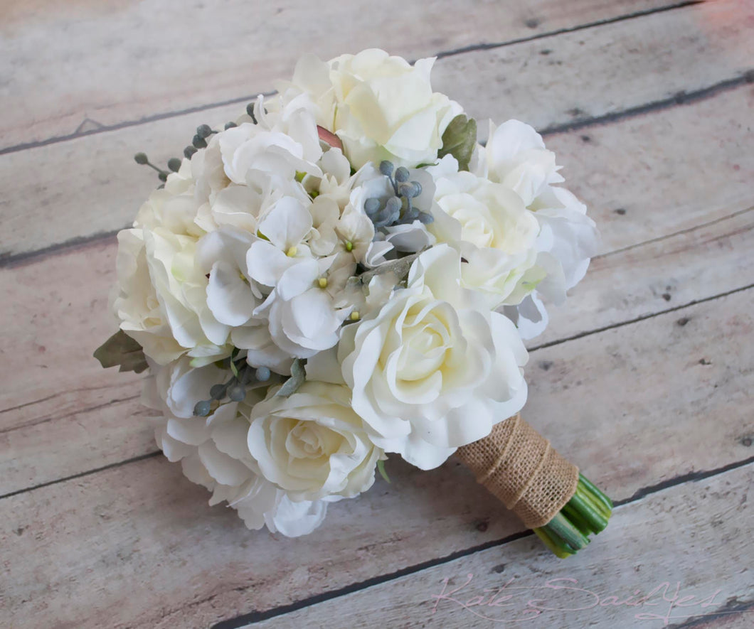 White Rose And Hydrangea Wedding Bouquet With Silver Brunia And