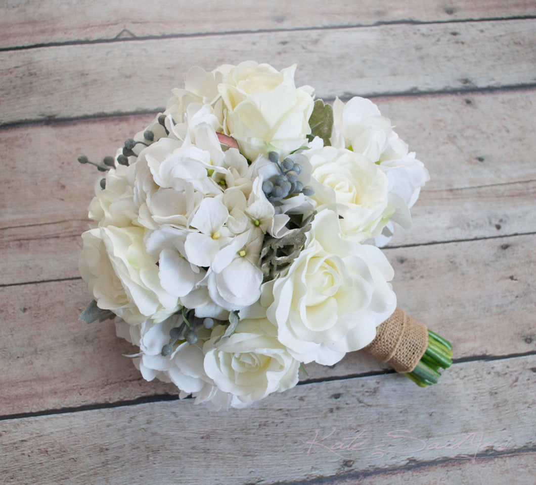 Wedding White Hydrangea: White Rose And Hydrangea Wedding Bouquet With Silver