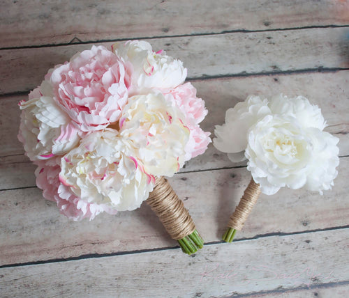 Ivory and Blush Pink Peony Wedding Bouquet Set - 1 Bridal Bouquet and Bridesmaid Bouquets