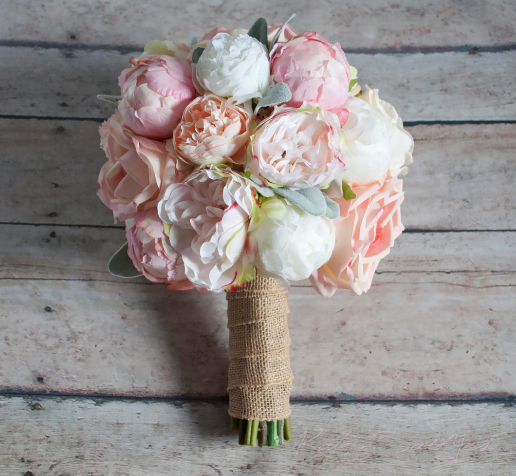 Delicieux Peach Ivory And Blush Peony And Garden Rose Wedding Bouquet With Lambu0027 U2013  Kate Said Yes Weddings