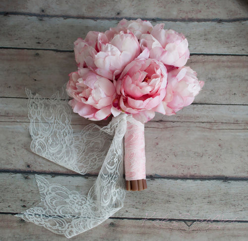 Blush Pink Peony Bouquet with Blush Pink and Lace Handle - Peony Wedding Bouquet