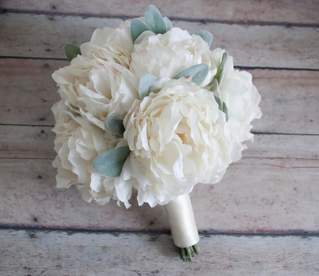 Ivory Peony and Lamb's Ear Wedding Bouquet