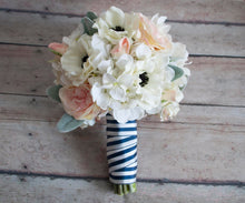 Blush Pink and Ivory Anemone Rose and Hydrangea Wedding Bouquet