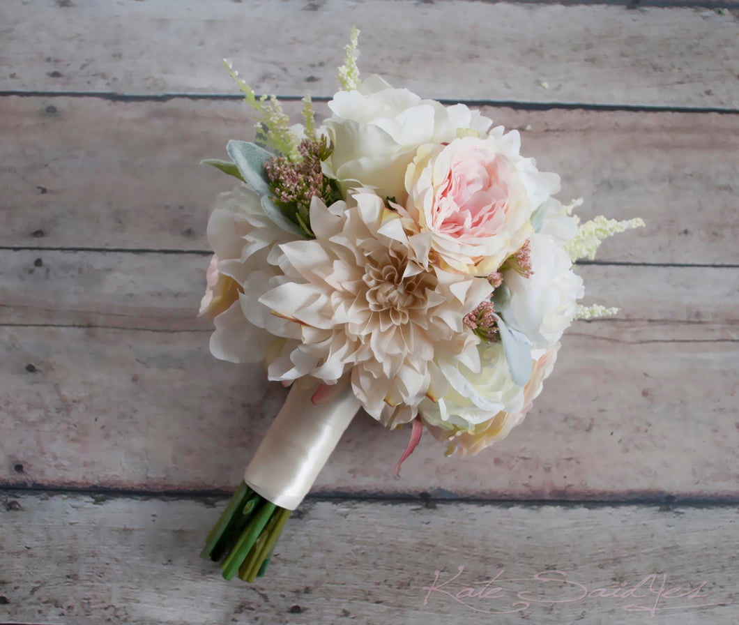 Blush Pink and Ivory Garden Rose Dahlia and Peony Wedding Bouquet - Bridemaids Bouquet