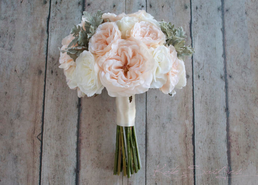 Blush Pink and Ivory Garden Rose Silk Wedding Bouquet with Dusty Miller