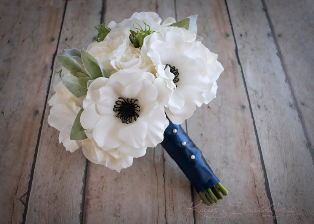 White Rose and Anemone Wedding Bouquet with Lambs Ear and Succulents - Silk Wedding Bouquet