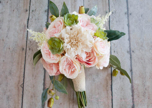 Boho Garden Rose and Dahlia Succulent Wedding Bouquet - Silk Bridal Bouquet
