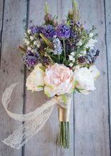 Wildflower and Garden Rose Wedding Bouquet - Silk Bridal Bouquet
