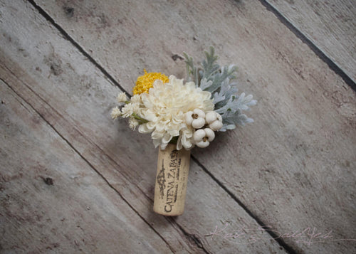 Cork Boutonniere - Ivory Pom and Craspedia Boutonniere with Dusty Miller