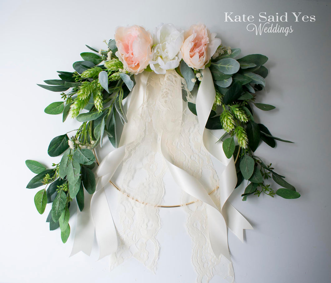 Greenery Wedding Hoop Bouquet with Eucalyptus Hops and Peonies