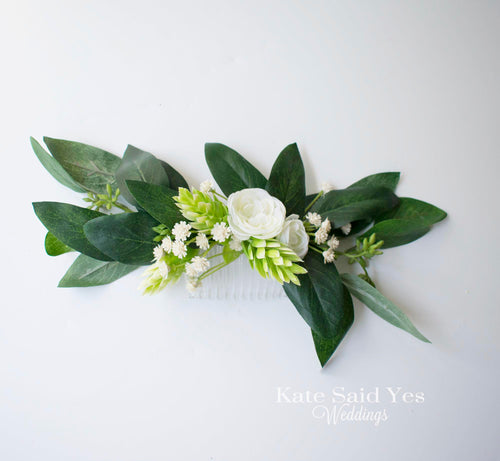 Boho Eucalyptus and Greenery Bridal Hair Comb with Hops Peonies and Wildflowers