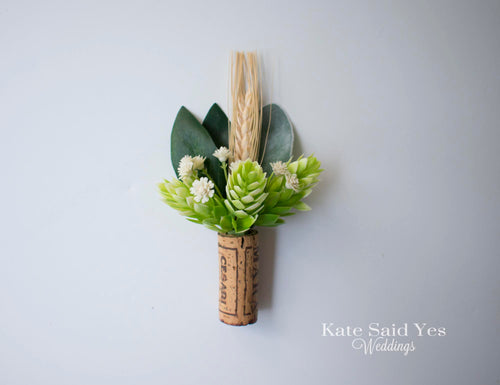 Hops Wheat and Eucalyptus Rustic Vineyard Cork Wedding Boutonniere