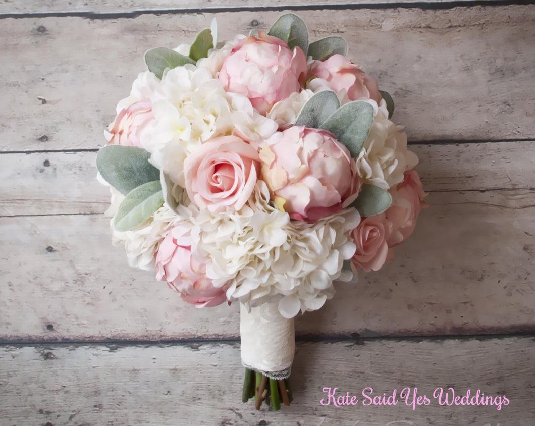 Silk Bouquet - Peony Rose and Hydrangea Ivory and Blush Wedding ...