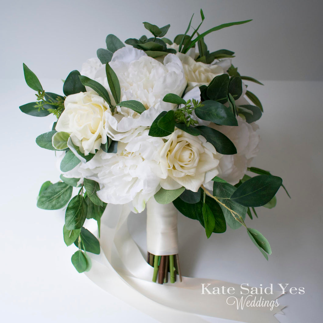 Ivory Peony and Rose Wedding Bouquet with Greenery