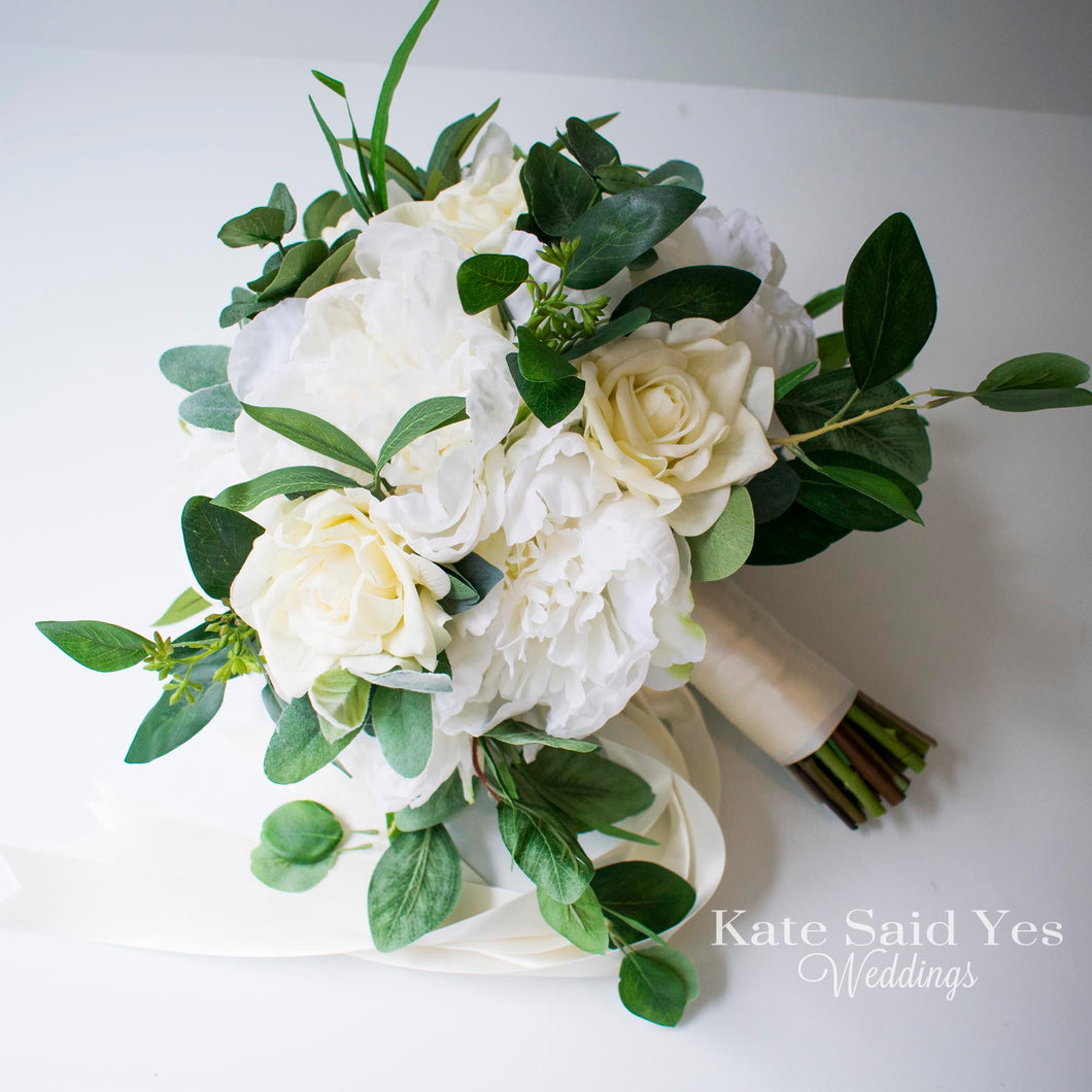 Ivory Peony And Rose Wedding Bouquet With Greenery Kate Said Yes Weddings