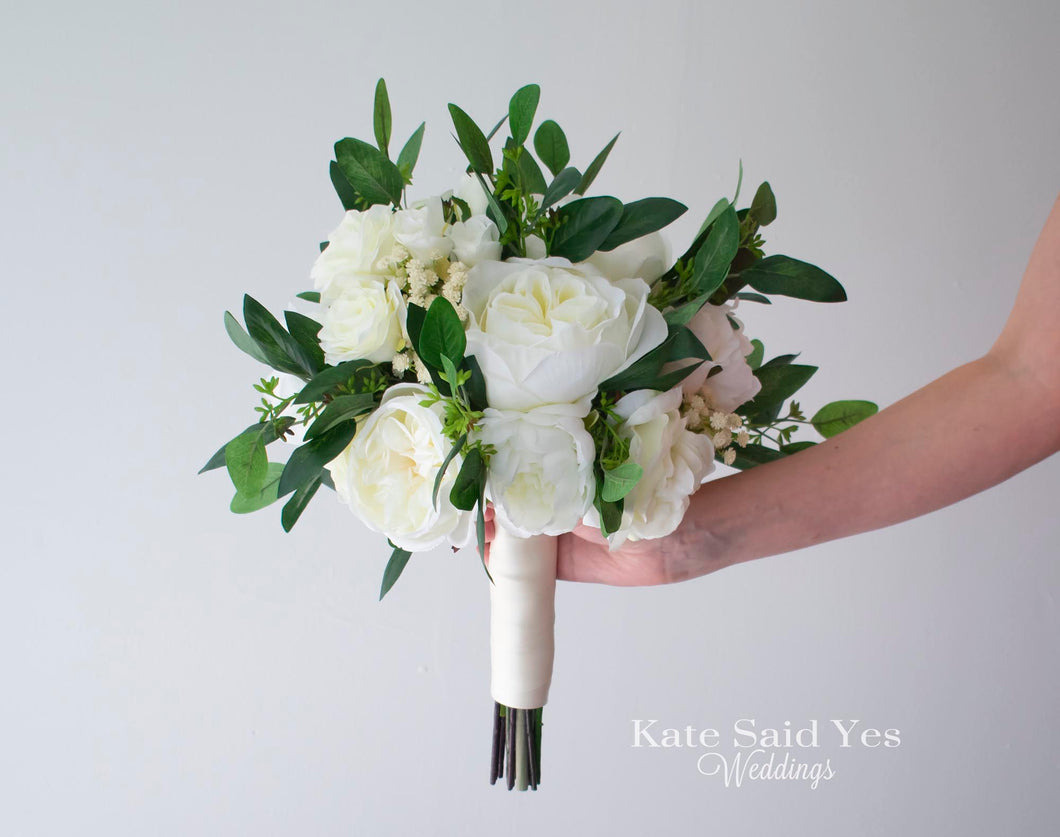 White Peony Rose and Ranunculus Greenery Silk Wedding Bouquet