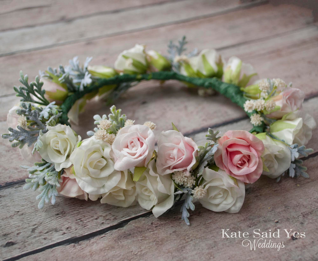 Wedding Flower Crown, Bridal Flower Crown, Flower Girl Crown, Greenery and Rose Flower Crown