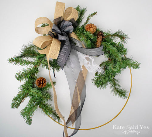 Large Rustic Evergreen Pine Christmas Holiday Door Hoop Wreath