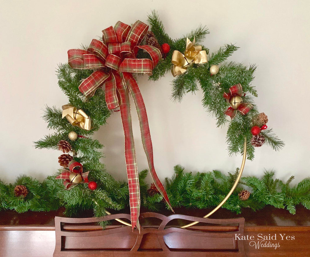 Rustic Evergreen Christmas Hoop Wreath, Oversized Holiday Wreath