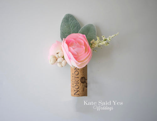 Pink Ranunculus and Lambs Ear Vineyard Wedding Cork Boutonniere