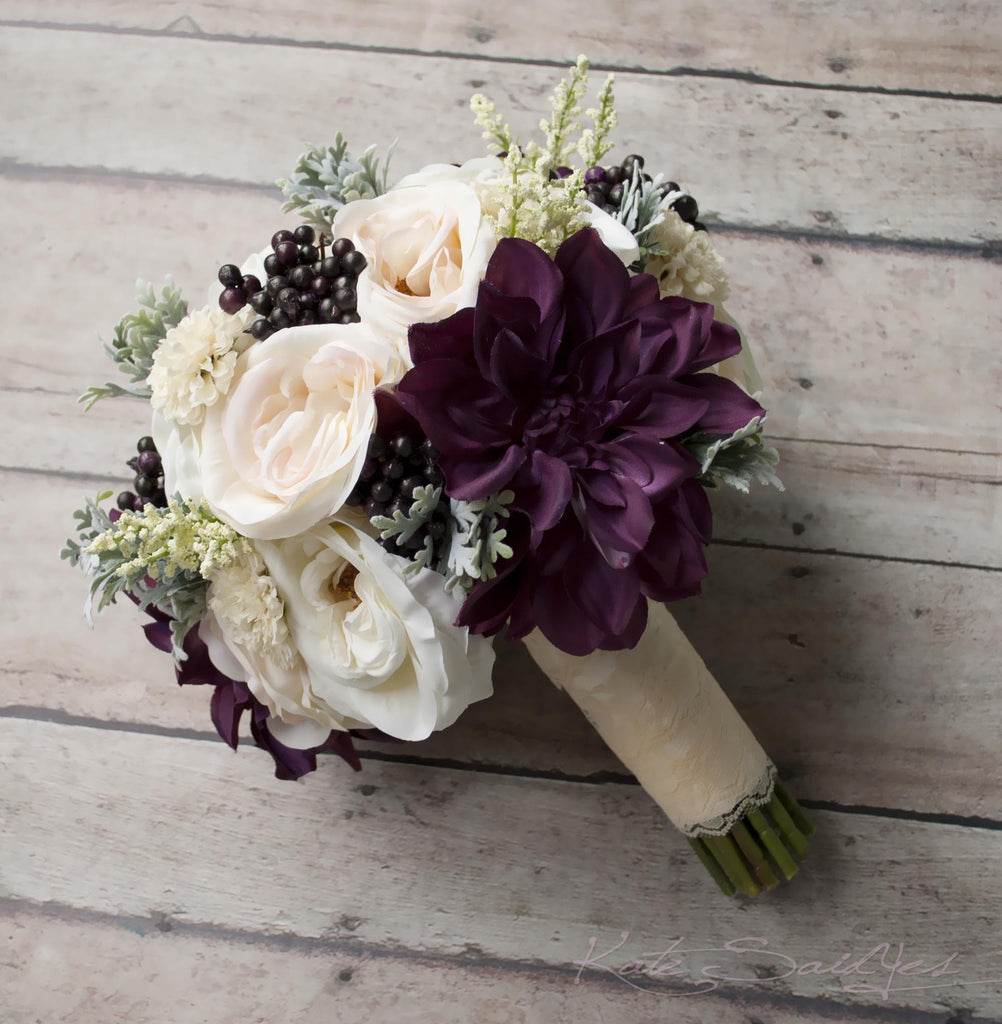 10 Stunning Dahlia Wedding Bouquets: Blush Ivory And Plum Garden Rose And