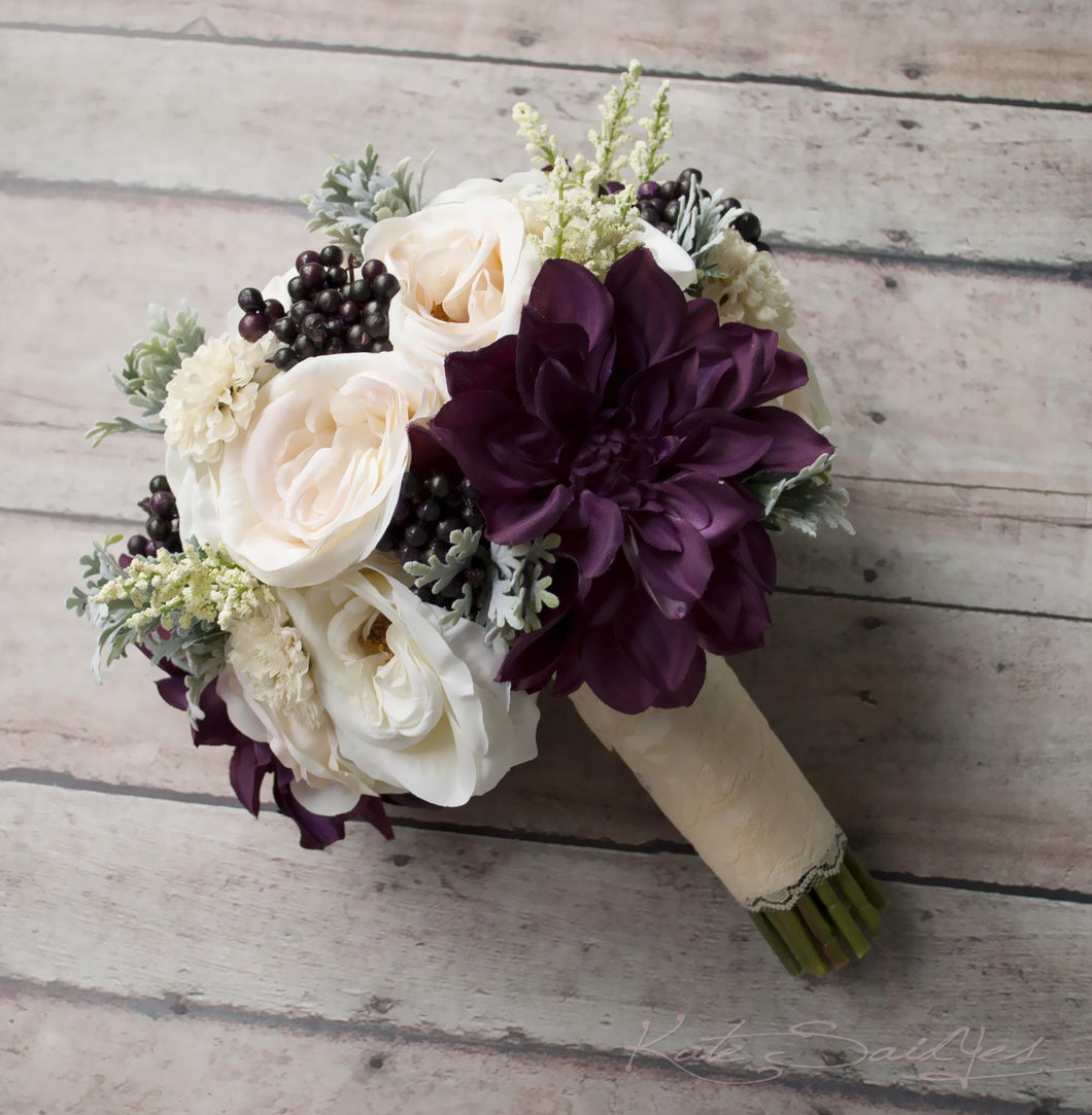 Rustic Bouquet Blush Ivory And Plum Garden Rose And Dahlia Wedding