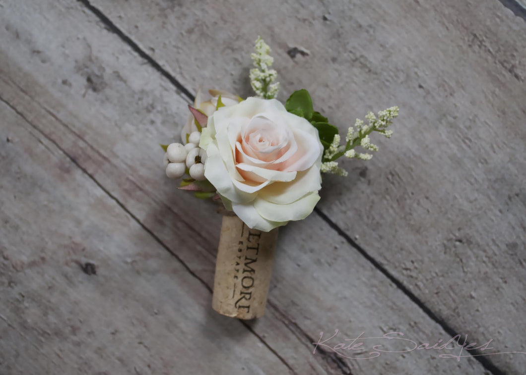 Cork Boutonniere - Peach Rose and Succulent Boutonniere with Berries