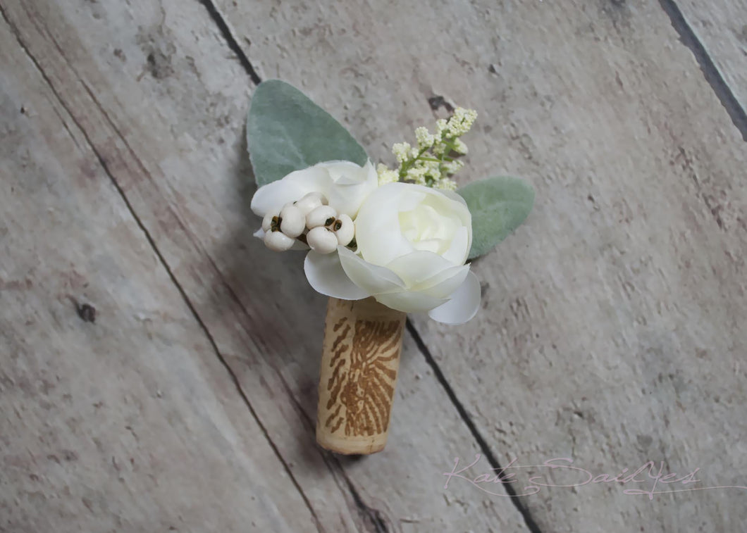 Cork Boutonniere - White Peony Boutonniere with Lambs Ear