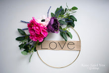 Valentines Day Love Wreath, Peony and Eucalyptus Spring Wreath